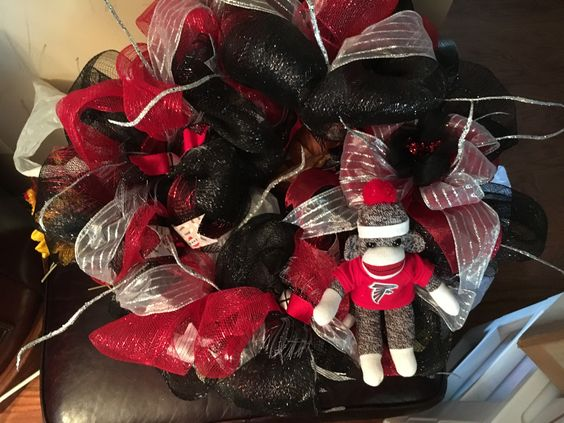 My wreath- Falcons Sock Monkey This wreath is for sale. Can be used throughout the year...show your spirit!