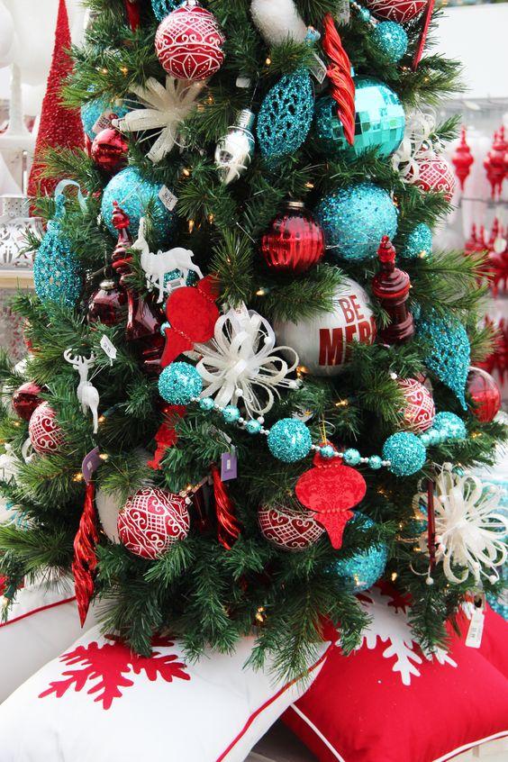 Christmas Tree... Aqua & Red   Christmas - trees   Pinterest   Christmas trees, Christmas decor ...