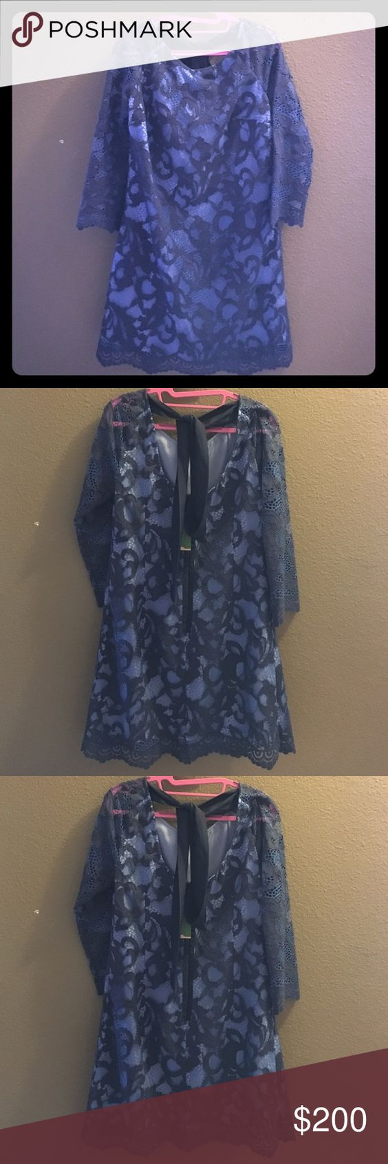 "Lily Pulitzer Aaliyah dress true navy size 8 Gorgeous romantic corded lace Lily Pulitzer ""Aaliyah"" dress in true navy. Size 8 NWT Lilly Pulitzer Dresses"