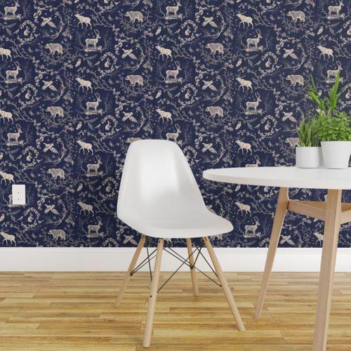 Winter Toile In Navy Background Spoonflower Rustic Wallpaper Deer Wallpaper Decor