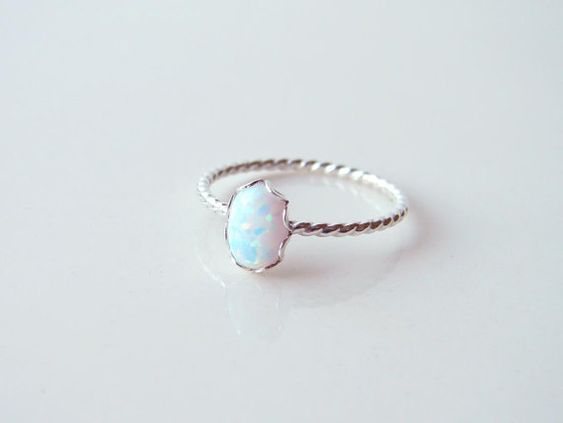 Small Oval Opal Ring. Sterling Silver Twisted Ring. by PetitBlue