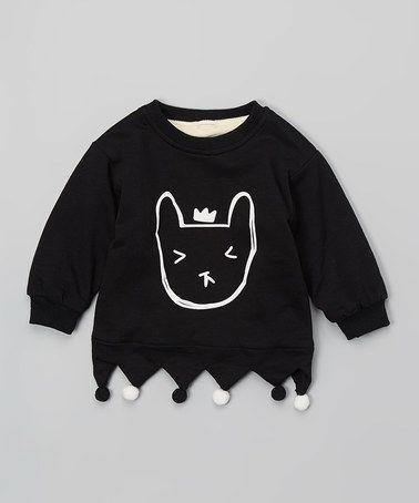 Look what I found on #zulily! Black Crown Cat Fleece-Lined Sweatshirt - Infant, Toddler & Girls #zulilyfinds