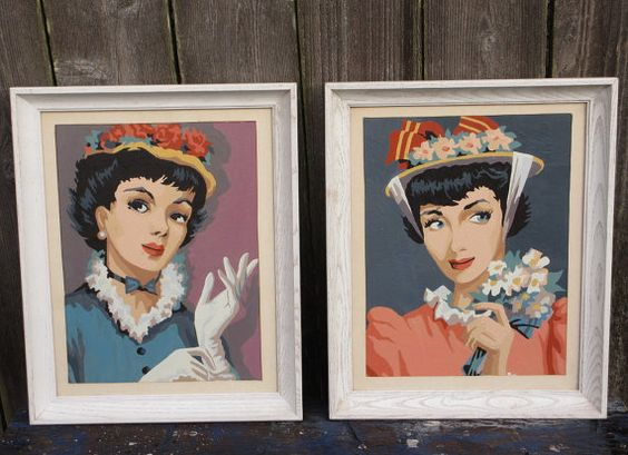 Framed 1950's Paint by Number Ladies in Pretty by KitschMerchant, $55.00