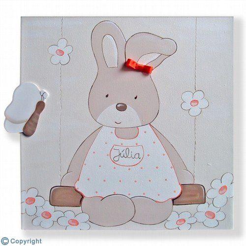 Cuadro infantil personalizado conejita en un columpio - Cuadro habitacion bebe ...
