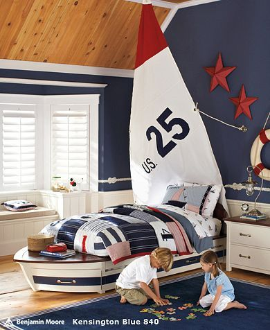 Love the idea of using the sailboat sail as a headboard or just as wall decor in a nautical theme bedroom.