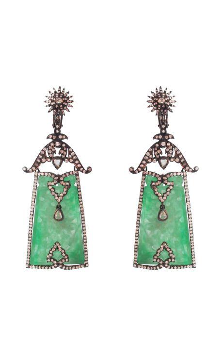 Silvia Furmanovich Jade Plaque and Diamond Earrings