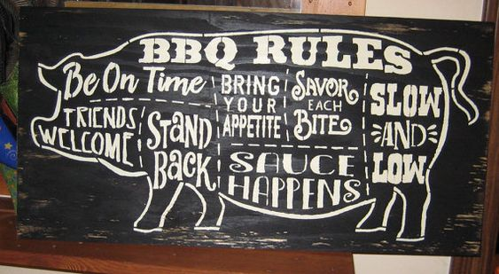 BBQ Rules.....Large sign....Primitive/ decor / handmade / gift/ country/ humor/ farm/ pig/hog ...
