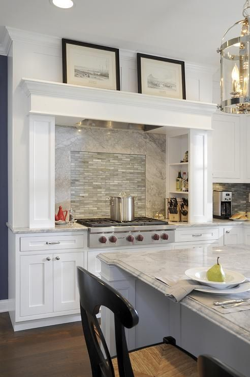 Common Kitchen Design Mistakes Overlooking Fillers And Panels: Custom White Cabinets, Wolf 6-burner Range Top, Mantel