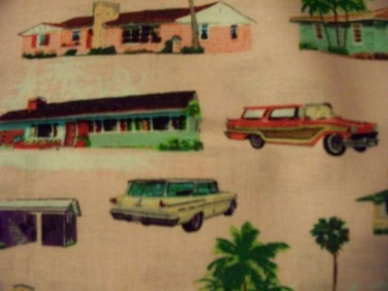 RETRO 50'S CARS & HOUSES VINTAGE HOMES CARS PINK COTTON FABRIC FQ #Kanvas