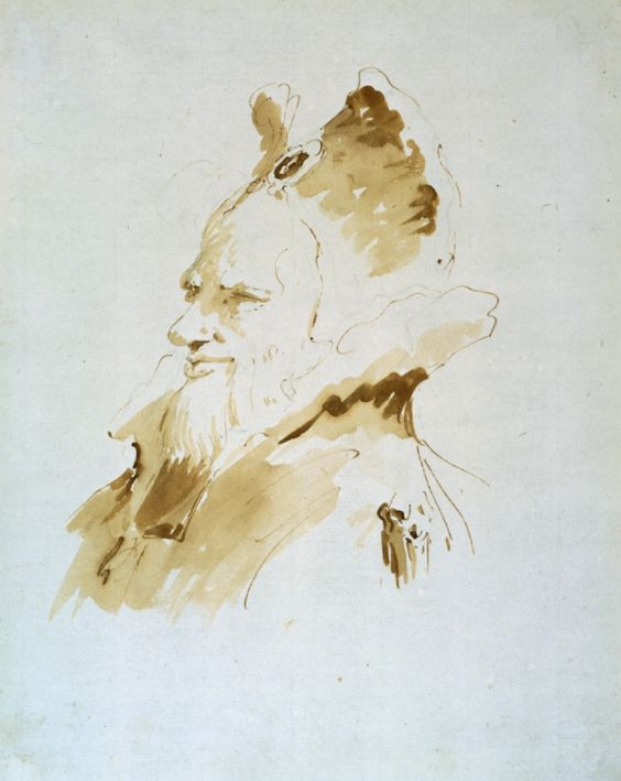 Giovanni Battista Tiepolo was the greatest Venetian artist of the 18th century. At that time, Venice had strong trading connections with the Middle East, and exotic Oriental figures often appear as bystanders in his religious or mythological paintings. In 'Head of a Bearded Man in Exotic Costume' the vitality of the figure is effectively conveyed by Tiepolo's skillful application of warm, semi-transparent washes.