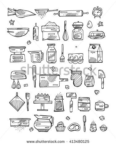 15 Kitchen Utensils Sketch : kitchen cooking tools retro icons set . Vintage Illustration. Sketch ...
