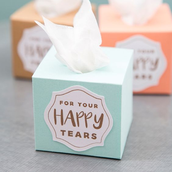 "Using your Cricut Explore Air and our free print and cut files, you can whip up these absolutely darling mini ""happy tears"" tissue boxes for your wedding!:"