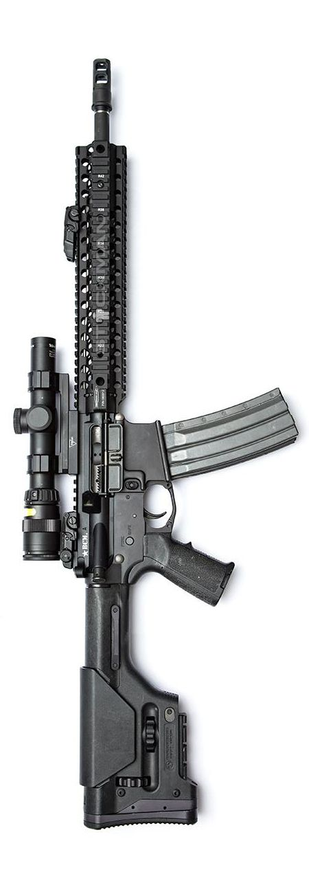 Bravo Company Upper with SureFire MB556K brake, and Centurion Arms rail. Magpul furniture with the PRS stock, MIAD grip, and MBUS sights. The magazine is the Surefire 60 rounder. The trigger is a Geissele Automatics. By Stickman