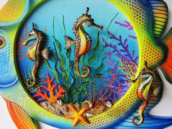 Fish seahorse art wood fish with seahorses-nautical by artistJP