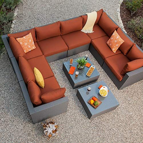 Royal Garden Becket 10 Piece Outdoor Wicker Sectional Set Patio Sectional So Modern Patio Furniture Outdoor Patio Furniture Sets Outdoor Wicker Patio Furniture