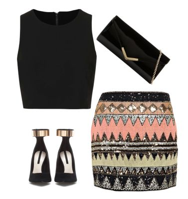 New years eve outfit ideas. Sequin mini skirt, gold strap heels.:
