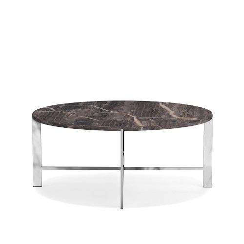 Mercer Coffee Table Round Marble Grey Polished Nickel Williams Sonoma Coffee Tables End Tables Console Tables Accent Tables Table Teak Coffee Table Outdoor Coffee Tables