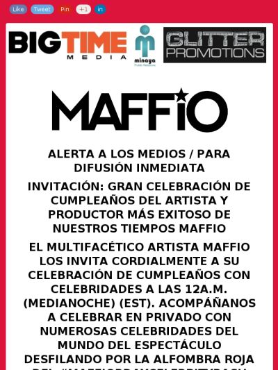 #Medios @maffio los invita a su #MAFFIOBDAYCELEBRITYBASH #MAFFIOBANK2015 esta noche 24 ene 12am (EST) https://madmimi.com/s/dea1d5?o=tm @fusionmediapr