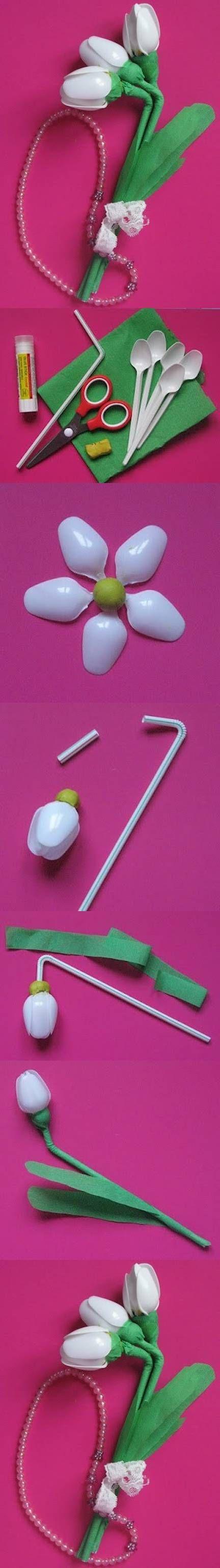 Потрясающие идеи переделок из пластиковых ложек! Фантазии рукодельниц нет границ...