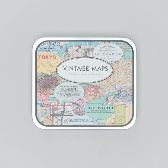 """Cavallini Papers Stickers """"vintage maps"""""""