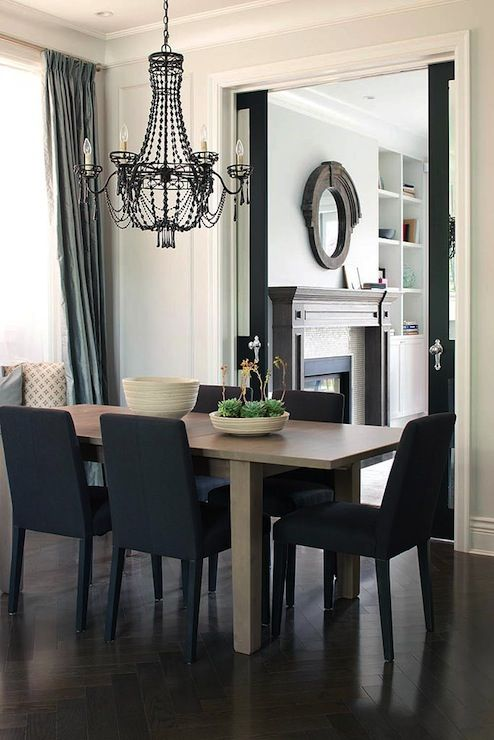 Gray Black Dining Room Dark Herringbone Wood Floors