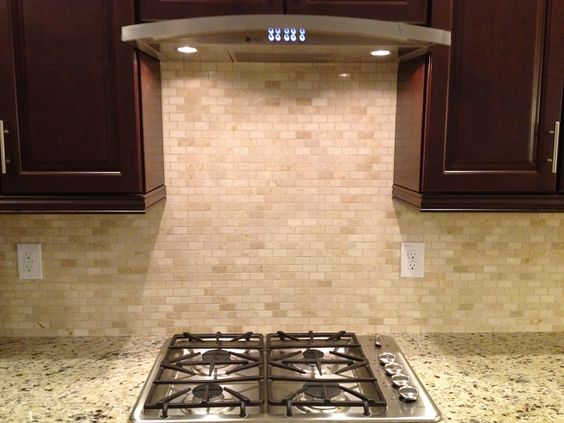 mini subway tile kitchen backsplash 1x2 crema marfil quot mini subway quot tile backsplash 9174