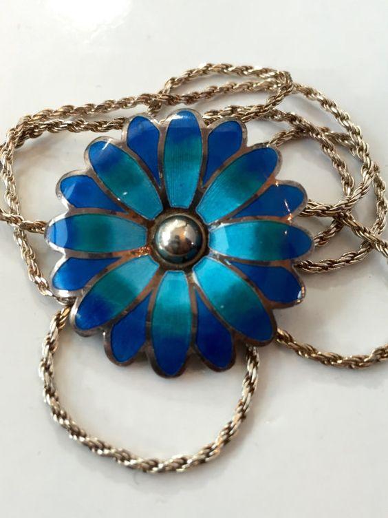 Vintage Jewelry Necklace / TAXCO Mexico A. MAYA 980 Sterling Silver ENAMEL / Mexican Flower Enamel Brooch Pendant / Antique Estate Jewelry