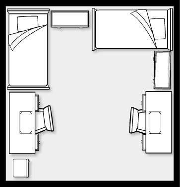 Dorm room layout 14x14