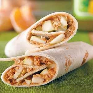FILLED WITH APPLE AND CRUNCHY GRANOLA, KIDS WILL BE SURE TO EAT THIS LUNCHTIME PEANUT BUTTER WRAP.