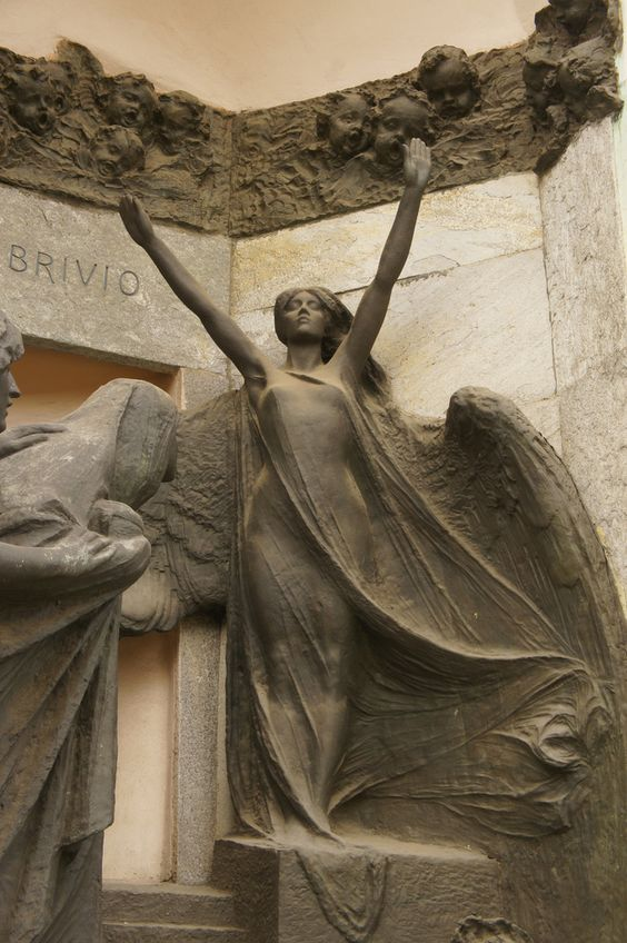 ☫ Angelic ☫ winged cemetery angels and zen statuary - Angel in Milano Cimitero Monumentale, Milan, Italy