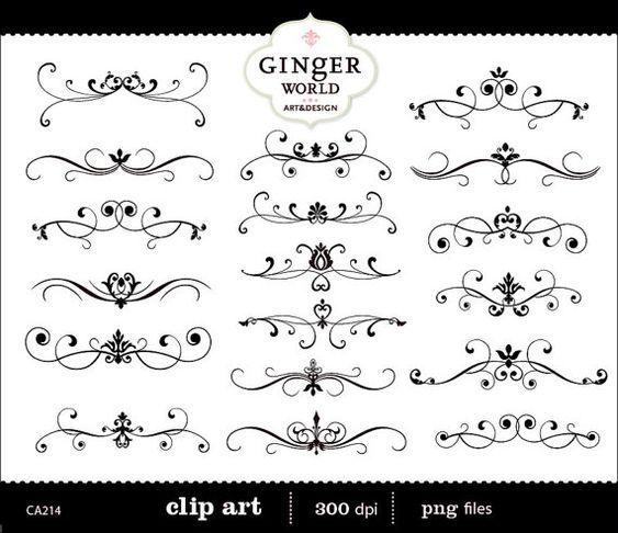 Digital Stamp Design Flourish Rose Border Corner Clip Art: Invitation Flourish Clip Art Swirl Border Calligraphy