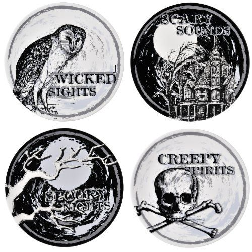 Grasslands Road Ghoulish Glamour Halloween 8-Inch Accent Plates 4 Styles, Set of 4
