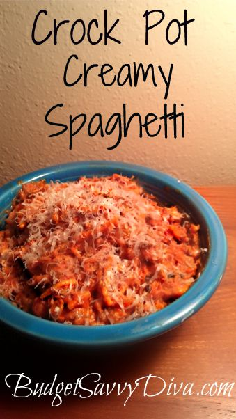 Creamy and delicious spaghetti. Perfect crock pot recipe. Done in about 4 hours
