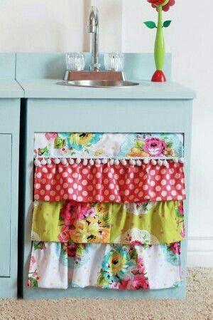 Cortina para cocina de tela reciclada bello pinterest - Tela cortina cocina ...