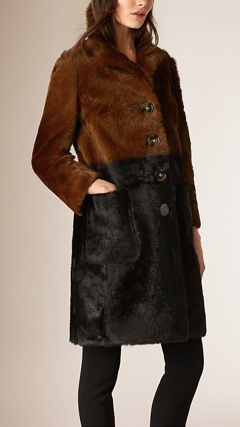 Marrom/preto Casaco Chesterfield de pele de novilho brilhante em degradê - Imagem 1