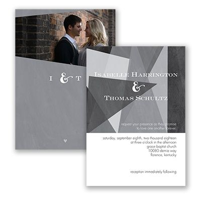 Harmony of Love Wedding Invitation in Mercury by David's Bridal. #invitations #weddings #graywedding