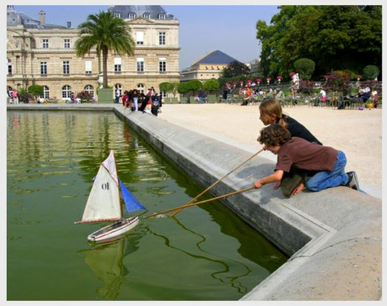 Luxembourg Gardens: Is centrted on a large octagonal basin of water, with a central jet of water; in it children sail model boats.