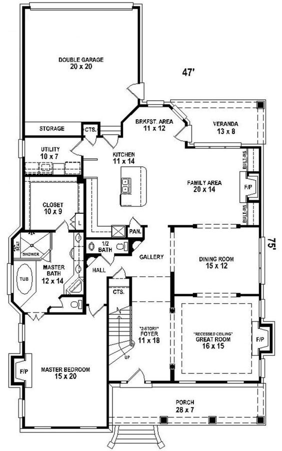 2 Story House Plan Narrow Lot Courtyard Downstairs