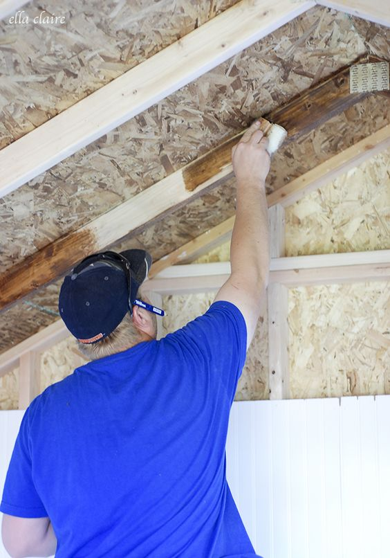 She Shed Woodwork | Staining Beams