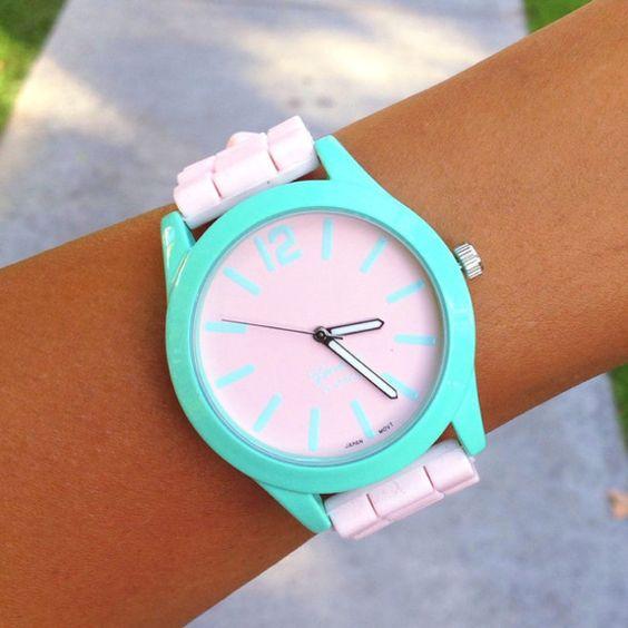 jewels mint watch silicone cute adorable girly minimalist geneva