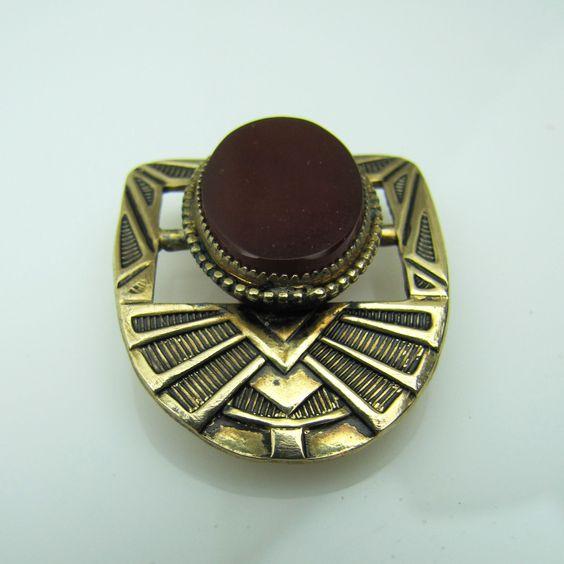 Carnelian Art Deco Gold Gilt Dress Clip. Geometric Shield Egyptian Revival. Taille d Eperargne Enamel. Red Garnet Cornelian Agate  C1930 by MercyMadge on Etsy
