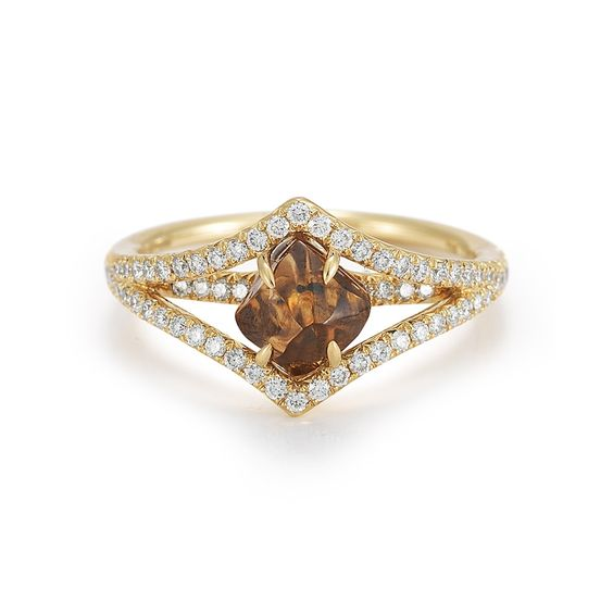 A rich brown rough diamond in a vintage-inspired setting.