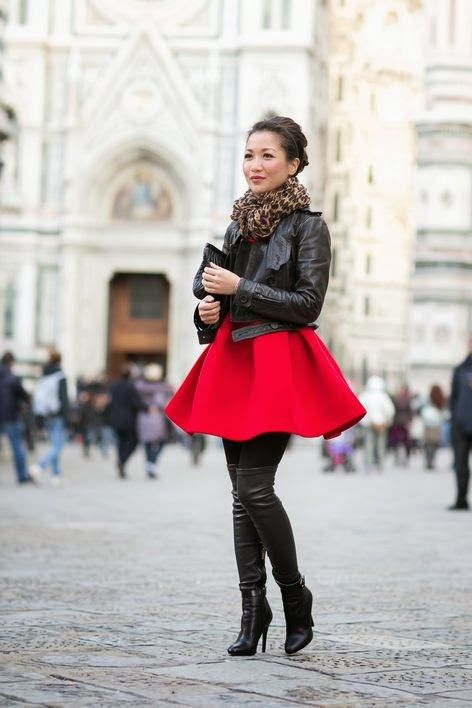 Short red dress black tights black jacket.. Need tall boots. Red ...