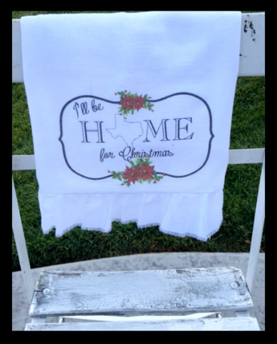 Flour Sack Tea Towel Christmas Texas Ruffled by tatteredgoods