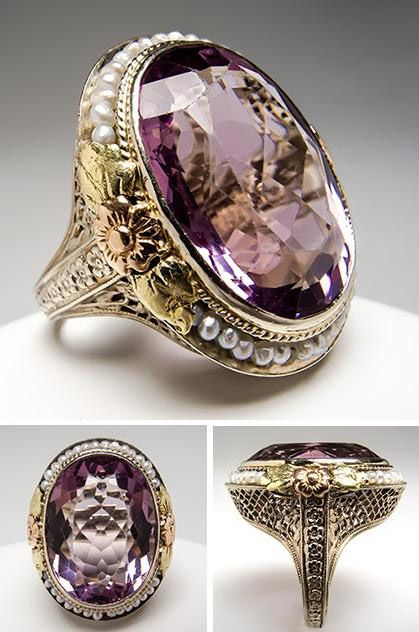 Antique Amethyst Cocktail Ring: