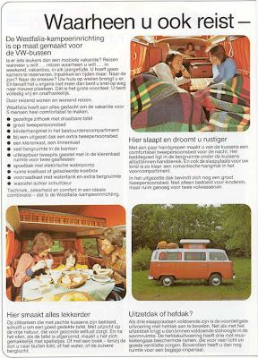 Some original  Dutch advertising from the VW  T2 Camper. Vintage & Retro