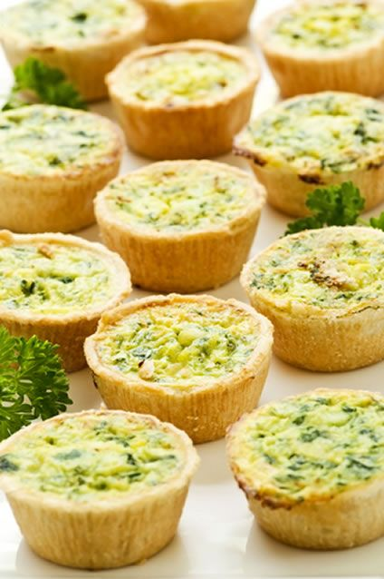 Spinach and cheese mini quiches. Can be kept in fridge overnight