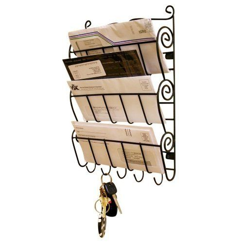 Bruntmor 3 Tier Letter Rack with 5 Key Holder's for Office or Kitchen Wall, Mail and File Organizer