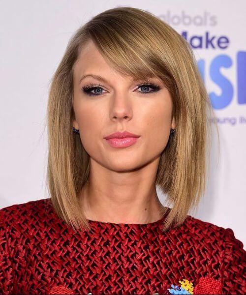 Taylor Swift Shoulder Length Bob Bob Hairstyles Bob Haircut With Bangs Stacked Bob Haircut