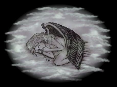 'Schlafender Engel  auf Wolken' von artkszp bei artflakes.com als Poster oder Kunstdruck $16.63  - #NEW #Fantasy #Art #Angel #love #valentine